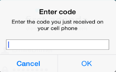 Enter the code you received on your cell phone